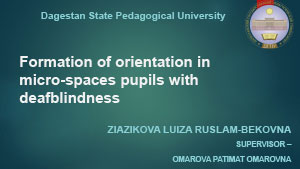 Обложка Formation of orientation in  micro-spaces pupils with deafblindness